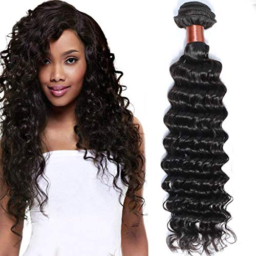 Angie Queen Peruvian Virgin Hair Deep Wave Bundles Remy Human Hair One Bundle Weave 100% Unprocessed Hair Extensions Natural Black Color 26Inch (100+/-5g)/bundle Can be Dyed and Bleached from Angie Queen