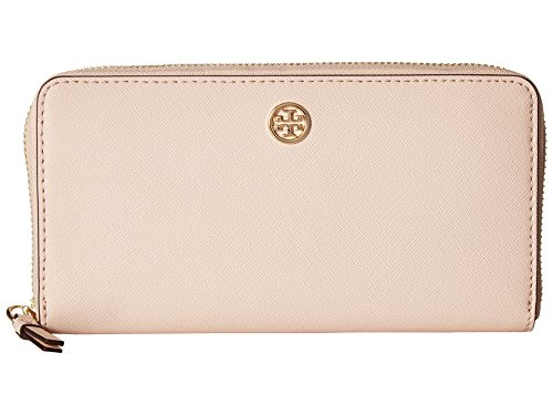 Tory Burch Women's Robinson Zip Continental Wallet, Pale Apricot/Royal Navy, Pink, One Size ()