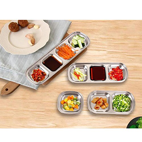 Freebily Glazed Stainless Steel Dipping Bowl Sauce Dish Snack Tray Condiment Relish Dip Bowls 2-Grid One Size by Freebily (Image #6)