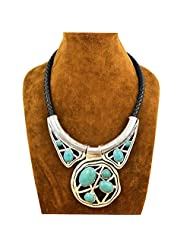 XY Fancy Fantastic Vintage Look Tibet Silver Chunky Exotic Pendant Turquoise Necklace N030