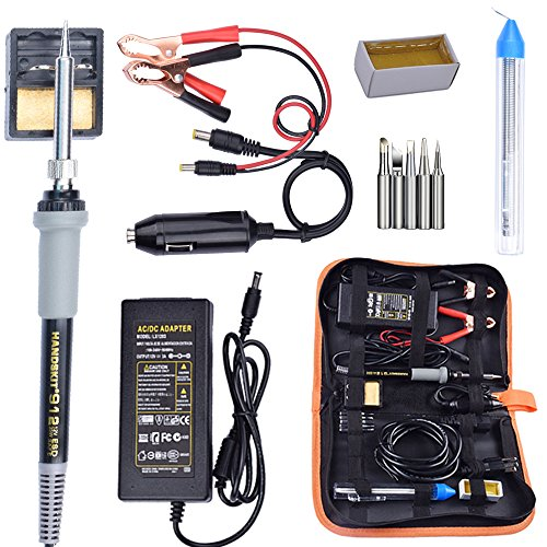 Soldering Iron, Soldering Iron Kit, 35W Adjustable Temperature Welding Tool, 5pcs Solder Soldering Iron Tip, with Car Battery Charger, AC/DC Adapter 110-240V/12V 3A, PU Carry ()
