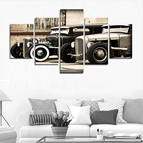 LiftGather Modular Poster HD Printed Canvas Painting Frames for Living Room Wall Art 5 Pieces Hot Rod Vintage Car Pictures Home Decor(40