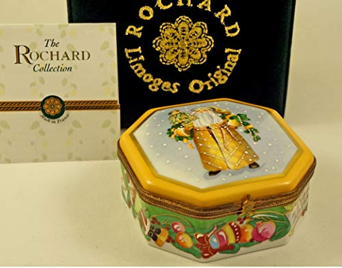 Authentic French Porcelain Hand Painted Rochard Studio Collection Limoges Box Lynn Haney Santa Claus Pears of Gold