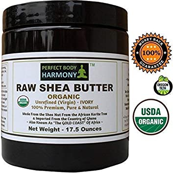 Certified ORGANIC RAW SHEA BUTTER, Huge 17.5 oz Tall Amber BPA Free Jar Unrefined, Virgin, Ivory White Tan Premium Quality Made in Africa From The Shea Nut Best Non-comedogenic Natural Moisturizer.