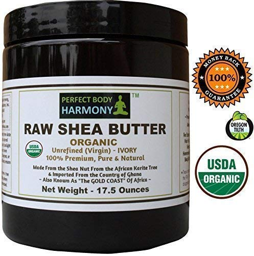 Certified ORGANIC RAW SHEA BUTTER, Huge 17.5 oz Tall Amber BPA Free Jar Unrefined, Virgin, Ivory White (Tan) Premium Quality Made in Africa From The Shea Nut; Best Non-comedogenic Natural Moisturizer. (Perfect Body Harmony Shea Butter)