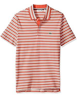 Men's Short Sleeve Pique with Stripe Rib Collar Polo, PH2047