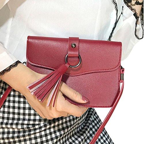BZLine® Frauen Leder Handtasche Quaste Umhängetasche Tasche Tote, 19cm*1cm*14cm Rot