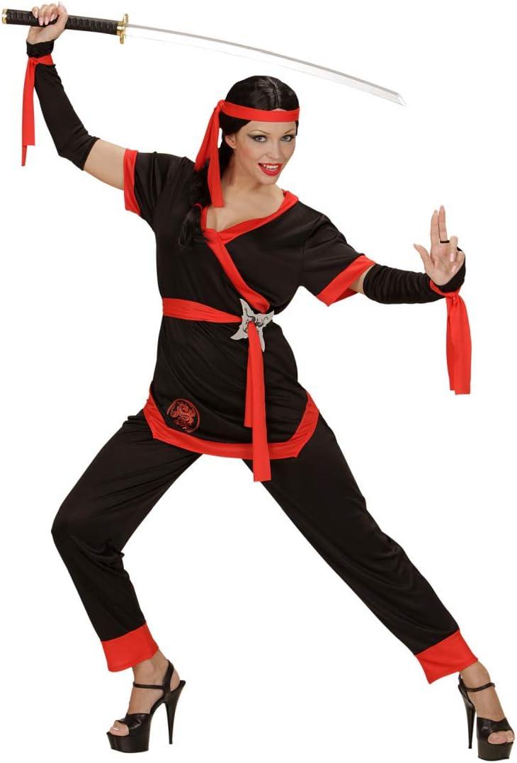 NET TOYS Disfraz Moderno de Ninja para Dama | Negro-Rojo en Talla ...