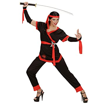 NET TOYS Disfraz Moderno de Ninja para Dama | Negro-Rojo en ...