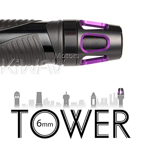 Magazi Bar Ends Tower Purple with Black Base Universal Fit w/ 6mm Threaded or Hollow Bar