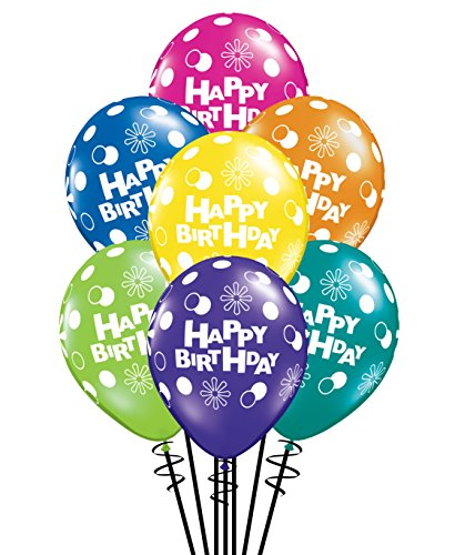 Qualatex Happy Birthday Polka Dots & Circles Fantasy Assortment Biodegradable Latex Balloons, 11-Inch (25-Units)