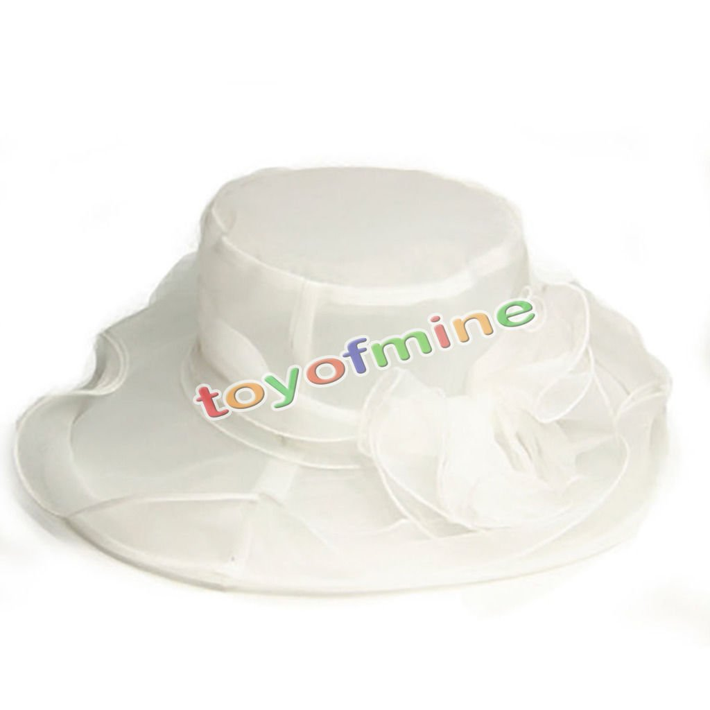 MAZIMARK--Style Women Church Derby Hat Wide Brim Cap Wedding Dress Tea Party Floral Bridal