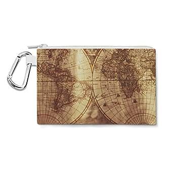 Antique Map Globe Canvas Zip Pouch - Medium Canvas Pouch 8x6 inch - Multi Purpose Pencil Case Bag