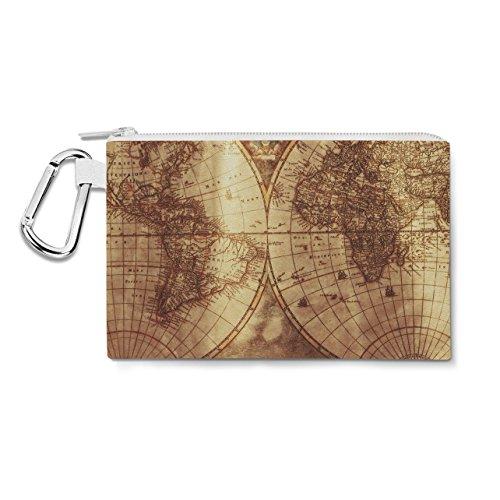 Antique Map Globe Canvas Zip Pouch - 3XL Canvas Pouch 14x11 inch - Multi Purpose Pencil Case Bag