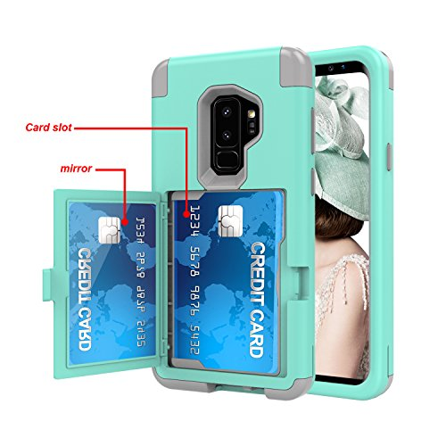 Galaxy S9 Plus Shockproof Case,Samsung Galaxy S9 Plus Case Hybrid Green,Gostyle 3 in 1 Hard PC + Soft Rubber Heavy Duty Drop Protection Armor Protective Case with Wallet Card Holder and Makeup Mirror