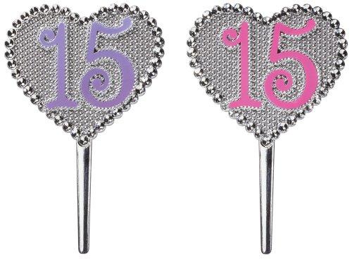 La Quinceanera Pink and Purple 15 Heart DecoPics (Quinceanera Games)