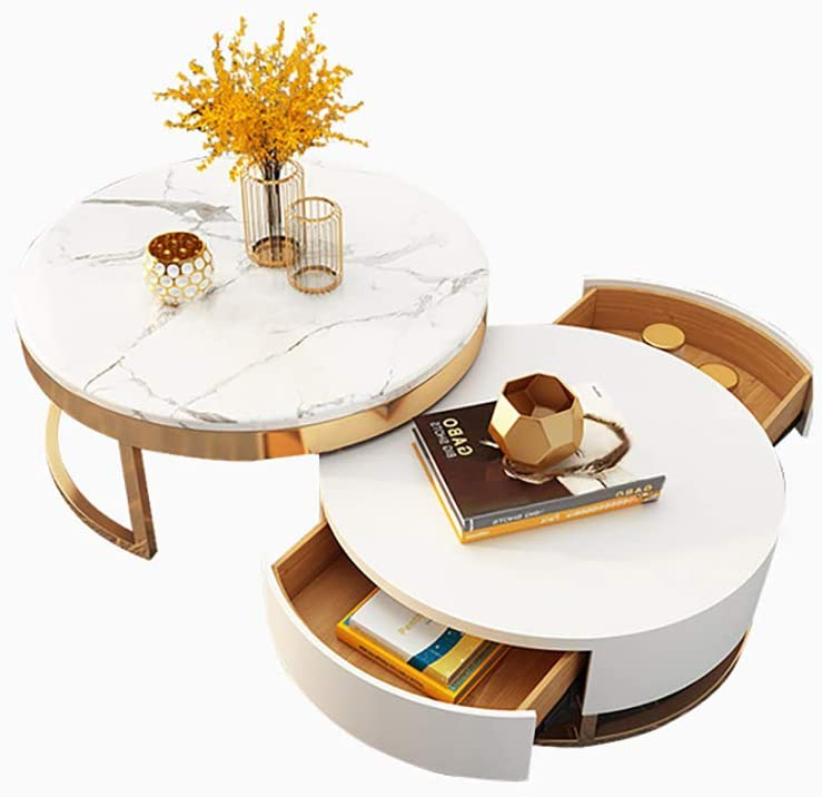 Amazon.com: Homary White Round Coffee Table With Storage White Faux Marble  Nesting Coffee Table With Rotatable Drawers: Kitchen & Dining