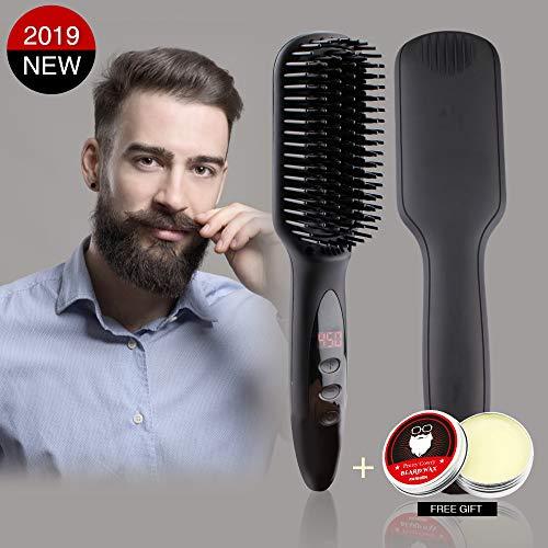 Beard Straightener Brush for Men Hair Straightening Brush Comb MCH Ceramic Heating-HD Display-Adjustable Temperatures-Silky Frizz-free Portable Straightening Brush-Anti Scald with Free Beard Cream (Best Hair Straightener Cream For Mens)