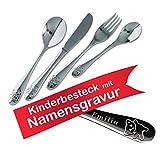 Kinderbesteck mit Namensgravur / Motiv TEDDY 'Bärchen' / 4-teilig (alle 4 mit Name graviert) / aus Edelstahl / Gravur in ansprechender Schrift