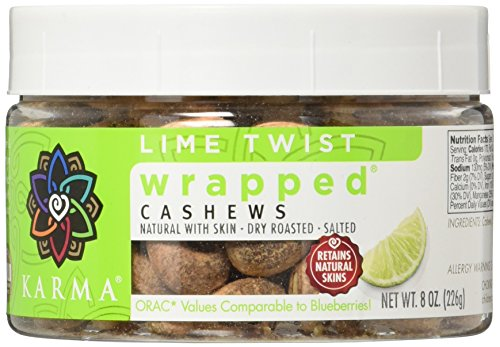 KARMA Premium Wrapped Natural Whole Cashews, Lime Twist, 8 Ounce