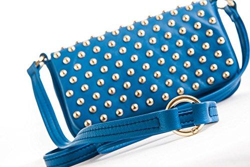 Alessia - Borsa da donna in vera pelle a spalla, mano o tracolla color cobalto con borchie - Made in Italy
