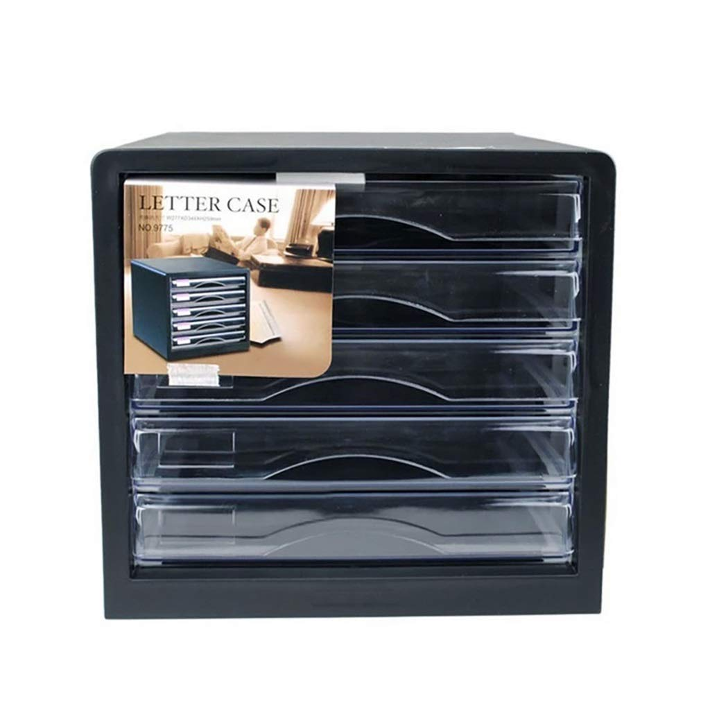 File Cabinet Black Desktop Drawer 5-Layer A4 Plastic Data Cabinet Storage Box Storage Archive 5-Layer Desktop File Drawer (Design: 5 Floors) Filing cabinets