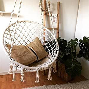 Diamond TP Macrame Hammock Chair Comfortable Hand-woven Hanging Swing Seat, Indoor/Outdoor Use, Max Weight: 260 Pounds