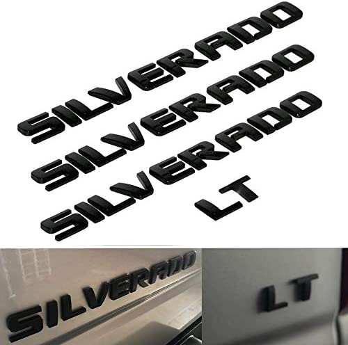 3D Raised and Strong Adhesive Decals Letters Badge Emblem for Silverado LT 1500 2500Hd 3500Hd - Gloss Black