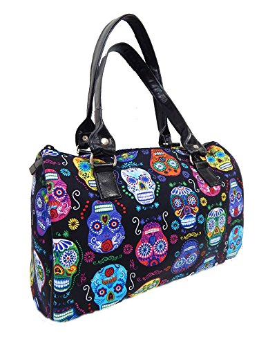 "Us Handmade Fashion With ""de Colores Sugar Skulls"" Pattern Doctor Bag Satchel Style Handbag Purse Cotton Fabric New Drb 1051"