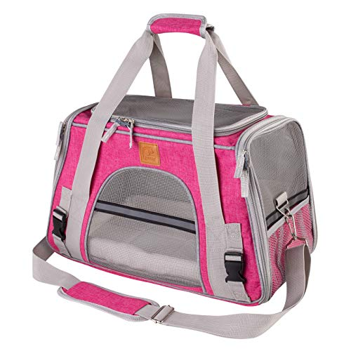 DLAGER Pet Carrier Soft-Sided Cat Carrier and Dog Carrier for Small Dogs and Cats, Fits Underneath Airplane Seat. Comes with Fleece Pet Mats(Rose)