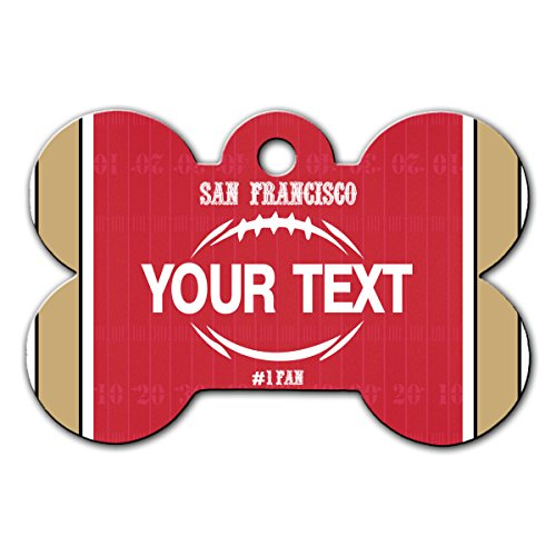 BleuReign(TM Personalized Custom Name Football San Francisco License Plate Bone Shaped Metal Pet ID Tag with Contact - Dog Tag 49ers