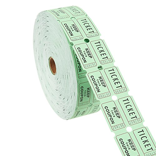 (Raffle Tickets Roll - Double Roll of 2000-Count 50/50 Ticket Coupons, Green)