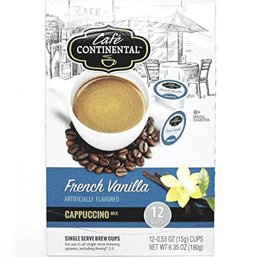 Cafe Continental Sweet & Creamy French Vanilla Cappuccino Coffee Mix 12 Single Serve Brew Cups ()