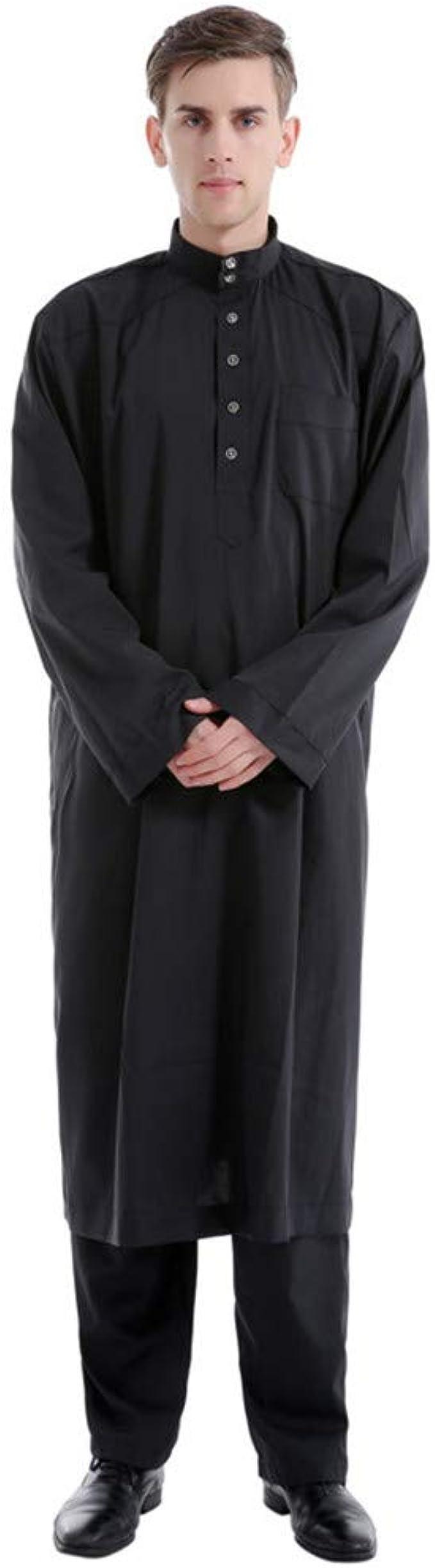 Mens Thobe with Long Sleeves Arab Muslim Islamic Ethnic Long Robes Calf Length with Pants Casual Business Kaftan Sets