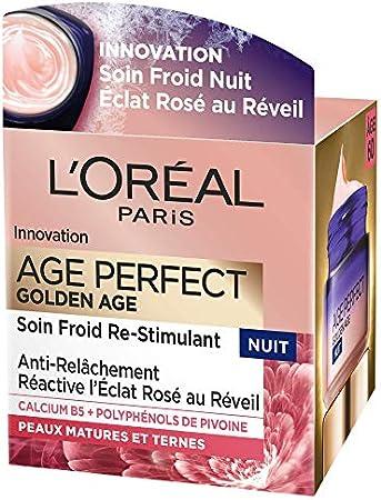 L'Oréal Paris - Age Perfect - Golden Age - Soin Froid Nuit Re-Stimulant - Anti-Relâchement & Eclat - Peaux Matures - 50 mL