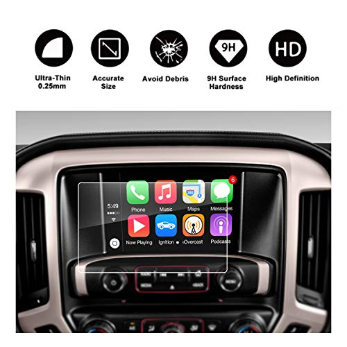 RUIYA 2015 2016 2017 2018 2019 GMC Sierra 1500/2500HD 3500HD INTELLILINK 8-Inch Car Navigation,GMC Infotaintment System HD Clear TEMPERED GLASS Screen Protective Film (8-Inch)