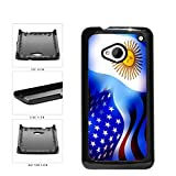 Argentina and USA Mixed Flag Plastic Phone Case Back Cover HTC One M7 include...