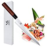 MSY BIGSUNNY 9'' Yanagiba Knife Stainless Sushi Knife Rose Wood Handle Professional Slicing Chef Knife Sashimi Knife
