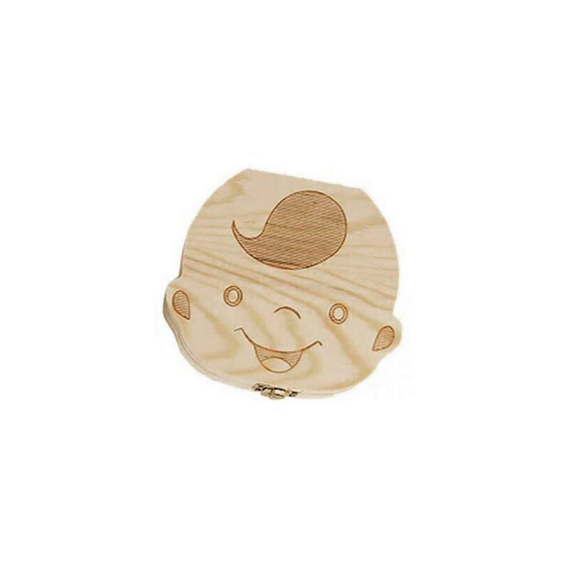 Boys 11.5 3 cm 1X Lovely Baby Teeth Save Box Organizer Tooth Collection Souvenir Case Wooden Handmade Keepsake Durable 12