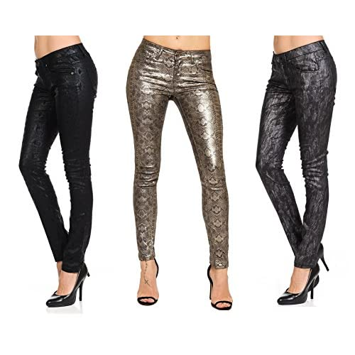cb3923e0032 Highway Women s Tonal Premium Faux Leather Look Jeans Black Gray Silver  Brown Snake Snakeskin Fitted Skinny