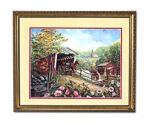 (Mill Bridge Horse Buggy Flower Landscape Wall Picture Gold Framed Art Print)