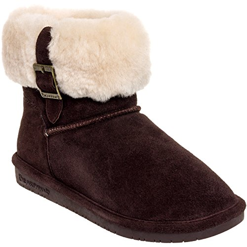 BEARPAW 1257W-205-M100 Women's Abby Cow Suede Chocolate Leather Winter Boot, 6