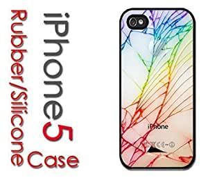 iPhone 6 plus (5.5) (New Color Model) Rubber Silicone Case - White iPhone Back Cracked Look Colorful Glass Broken Shattered
