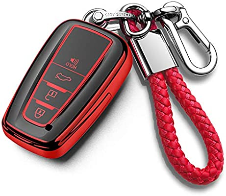 Camry RAV4 Avalon C-HR Prius Corolla Highlander GT86 Smart Key QBUC for Toyota Key Fob Cover with Keychain Soft TPU Key Fob Case All-Around Protection Key Case Compatible for Toyota 2018-2021