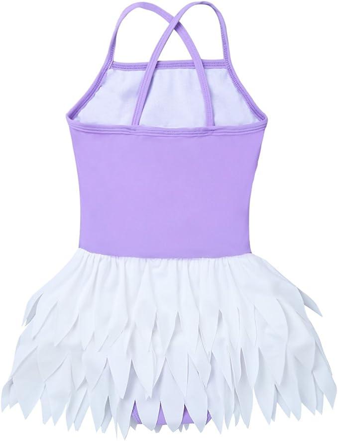 ranrann Girls 2PCS Flower Printed Hawaii Tankini One Shoulder Straps Ruffled Tops Bottoms Cute Swimwear Bathing Suit