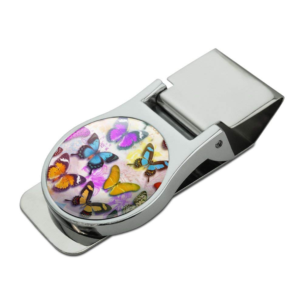 Colorful Butterflies Butterfly Design Satin Chrome Plated Metal Money Clip