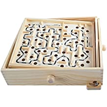 Goolsky Wooden Labyrinth Puzzle Maze Game Wooden Labyrinth Balance Board Educational Skill Improvement Wood Toys for Kids