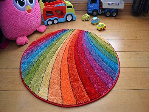 Splash Multicolour Rainbow Circle Thick Childrens Colourful Rug. Size 80cm x 80cm Rugs Supermarket