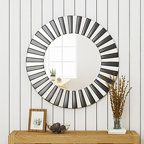Great Deal Furniture 305151 Abell Glam Circular Wall Mirror, Black (Large Mirrors Circular Wall)