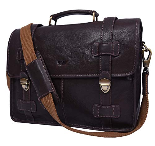 Addey Supply Company 15 Leather Messenger Bag for Laptop Briefcase Bag 15X4X11 inch Walnut